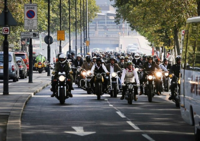 The DGR riders head west along Embankment
