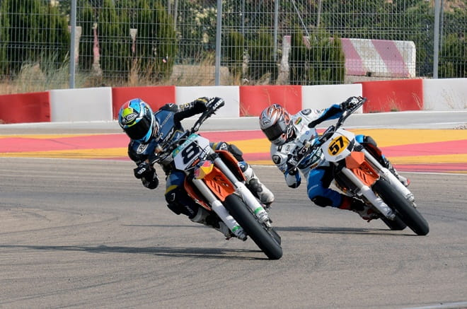 Marcel Schrotter on Jack Miller's bike and Maverick Vinales