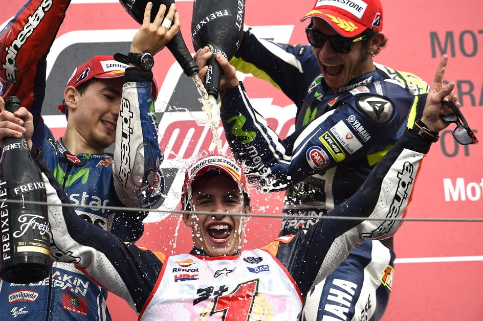 Good sportsmanship - Marquez' rivals drown him in champagne!