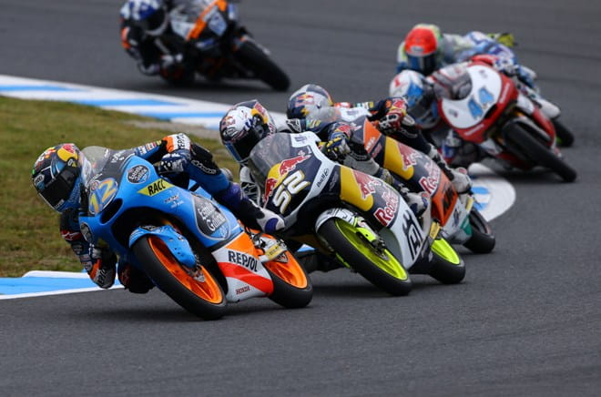 Marquez leads Danny Kent and Jack Miller during the Japanese Grand Prix last week