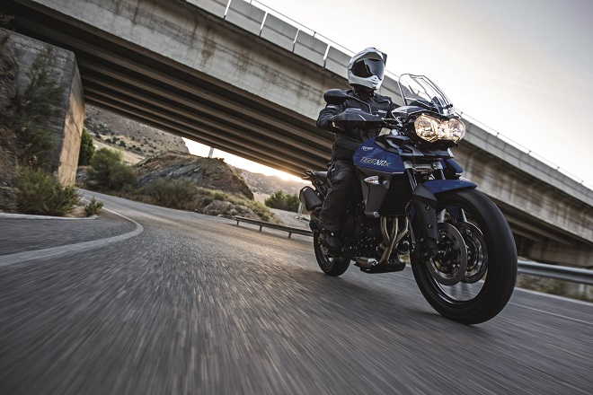 Triumph's Tiger 800 XRx in action.