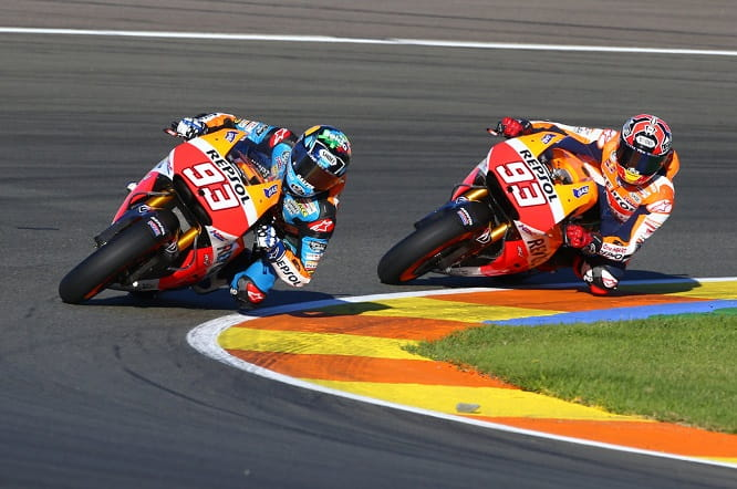 Marc and Alex ride together on circuit