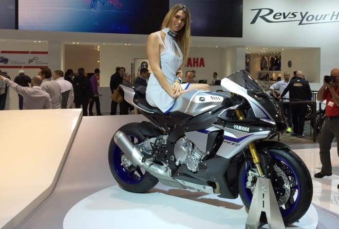 Yamaha's promotional model is clearly a fan of the R1M