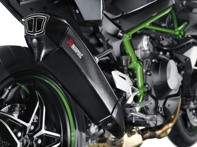 The Ninja H2's UK spec Akrapovic exhaust