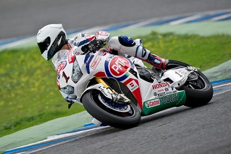 World Champion Guintoli rode the Honda for the first time