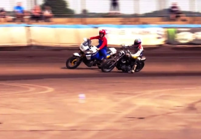 Guy Martin overtakes Super Mario on a Super Tenere...only at Dirt Quake