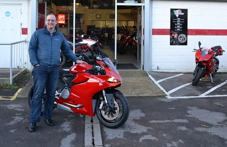 Richard Buchan picks up his Ducati 899 Panigale