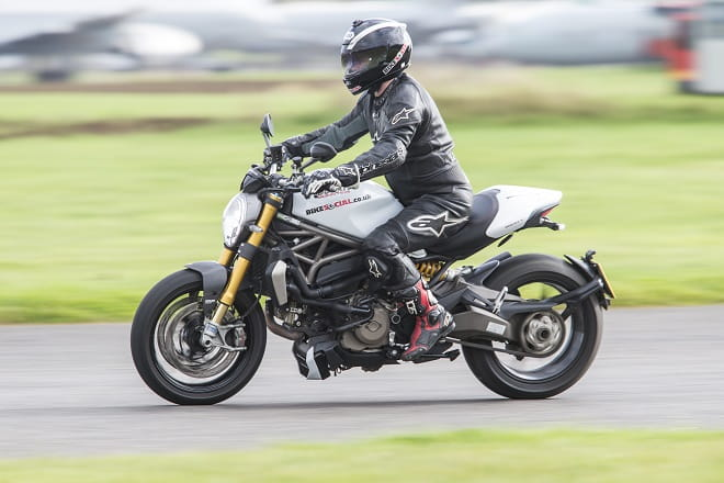 Bike Social's Paul Taylor on board Ducati's Monster 1200S equipped with the 25mm thicker touring seat