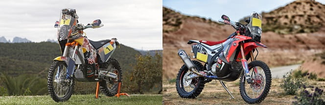 KTM and Honda's 450 Rally machines