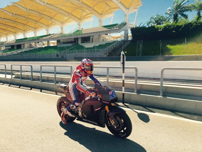Stoner tested the GP bike and a Fireblade