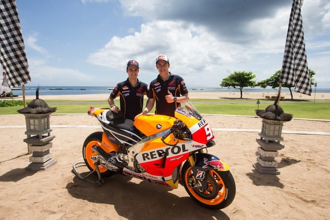 Marquez and Pedrosa present the new livery in Bali
