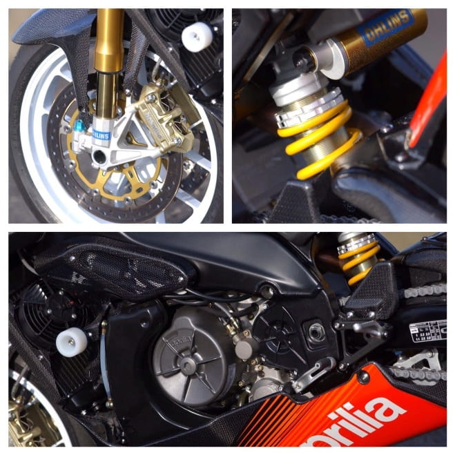 Ohlins forks, Brembo brakes - all part of the Aprilia's performance focus