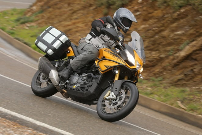 Adjustable screen, LED accessory lights, panniers and traction control come as standard