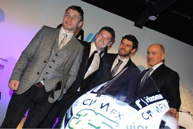 Crutchlow & Cechinello with Carl Frampton & Barry McGuigan