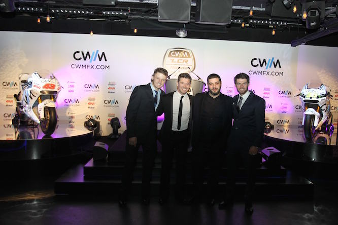 Crutchlow & Miller with team boss Cechinello and the CEO of CWM