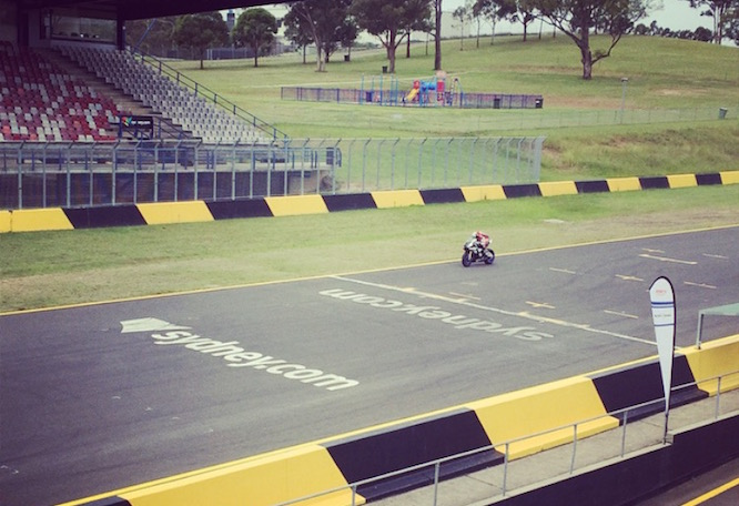 Brookes testing the R1 at Eastern Creek