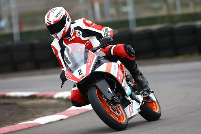 The media launch of the RC390 race bike took place at a very greasy go-kart circuit