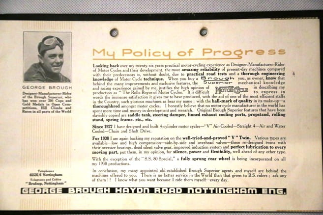 George Brough's Policy of Progress from 1938