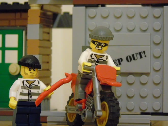 Buying or selling motorcycles is a fraught business, even for Lego men.