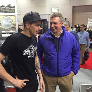 Scott Redding meets Patrick Allen at the MCN London Show in February 2015