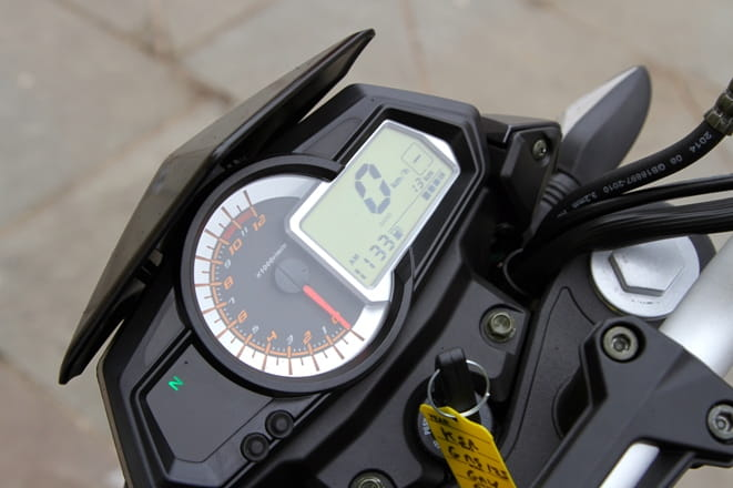Digital display with large speedo plus analogue tacho