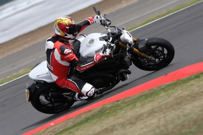 Bike Social's Marc Potter on a Monster 1200S at Silverstone