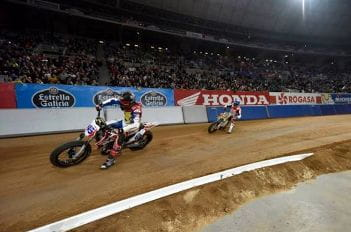 Practice at Superprestigio, the annual dirt track event