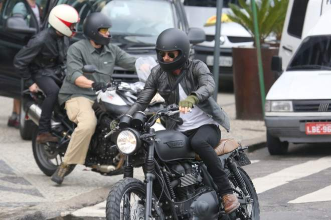 David Beckham with modified T100 Bonneville