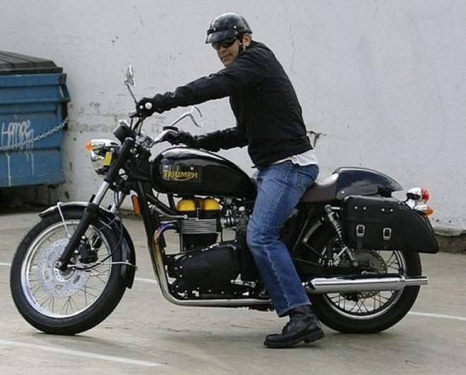 George Clooney on customised Bonneville