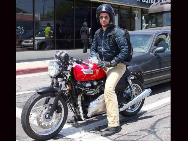 Bradley Cooper on his red Thruxton