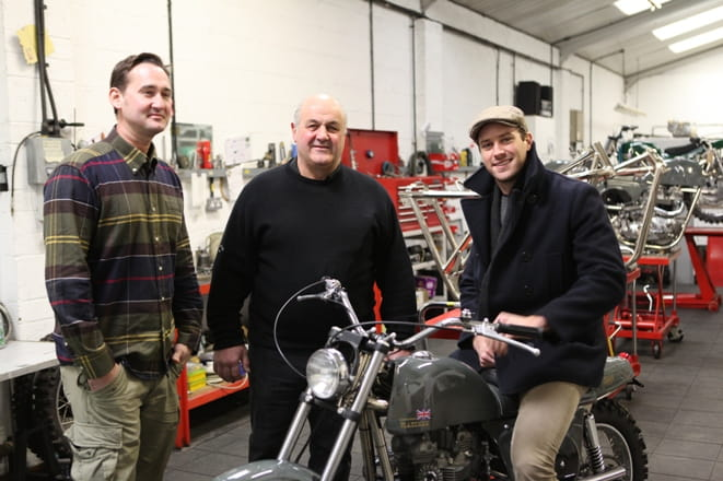 Metisse owner, Gerry Lisi (centre) with American actor, Armie Hammer (right) and a stunt rider