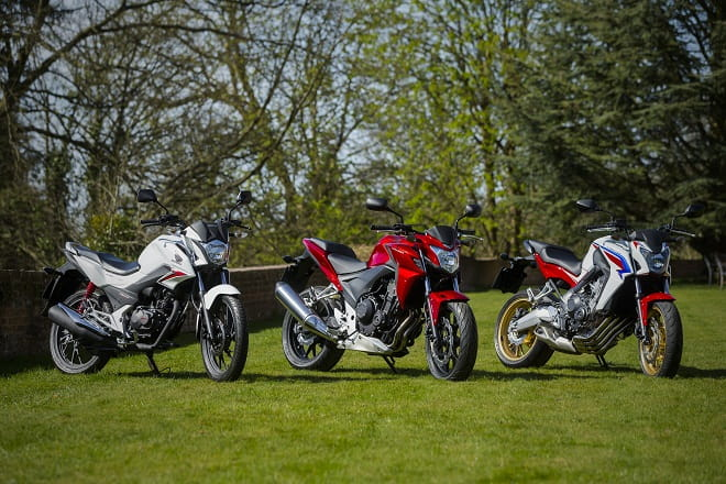 Honda's CB125F, CB500F and CB650F show the family resemblance.