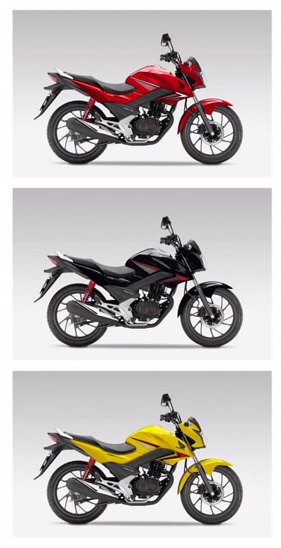 Honda CB125F is available in red, yellow, or black.