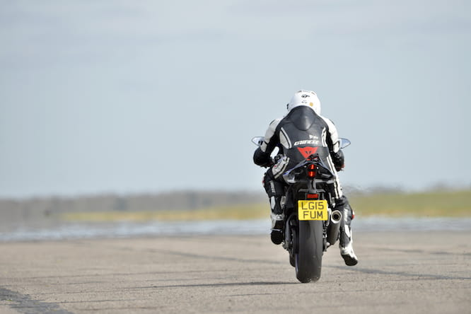 Bruce rode the R1 at Bruntingthorpe