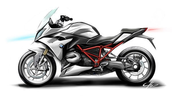 Design sketches of the R1200RS show BMW's sporty intention for the bike.