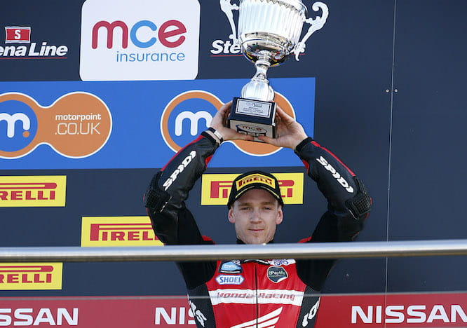 Linfoot finished on the podium at Donington