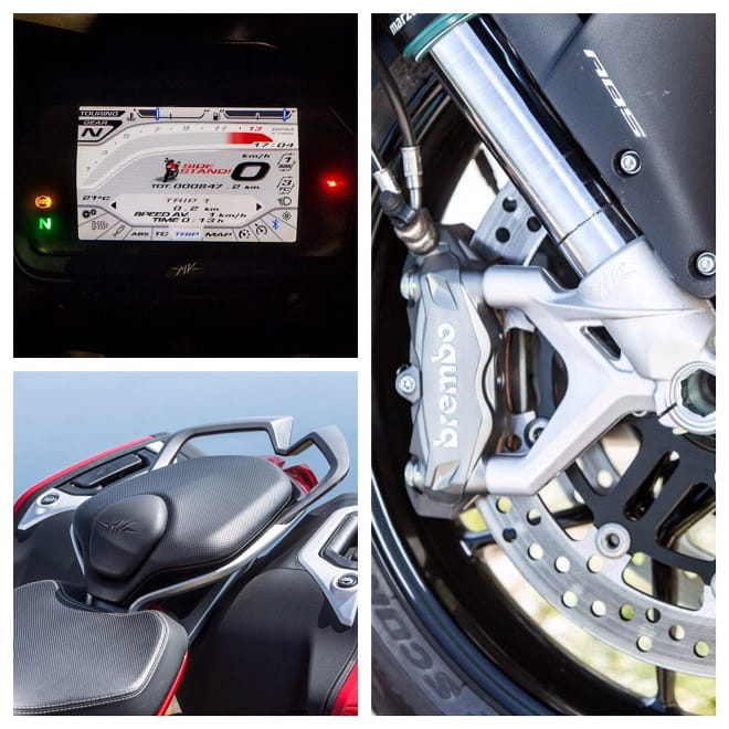 Plenty of info from the TFT instrument panel, stylish seat unit and Brembo brakes all add to the refinement of the MV