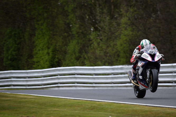 Hickman crashed in the wet at Oulton