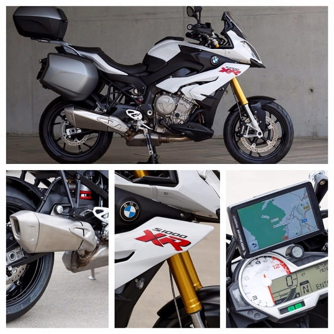 BMW's S1000XR with optional luggage, electronic suspension is an option, XR is a whole new adventure for BMW, dash is of the usual high quality from BMW, this shows optional integrated sat nav.