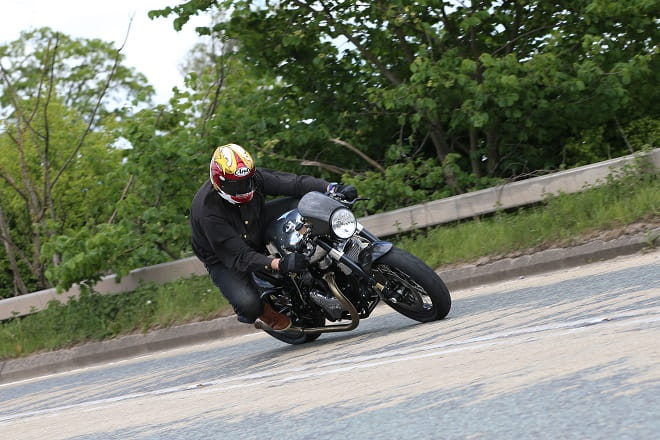 The Norton Dominator is a great bike to hustle through bends, The Ohlins suspension is supple and it's well set-up.