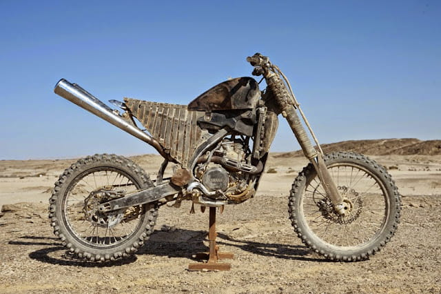 Yamaha YZ250F and a load of stripped back gubbins added to make it look post apocalyptic.
