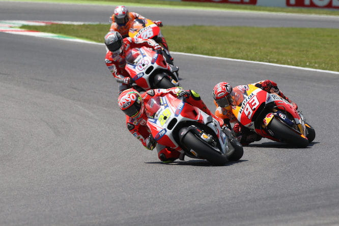 Marquez spent a lot of the race fighting with Iannone