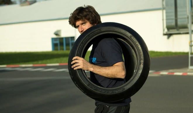 Metzeler Racetec RR modeled by Guy Martin