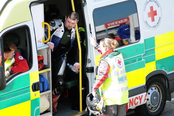 Dunlop returned to the paddock by ambulance