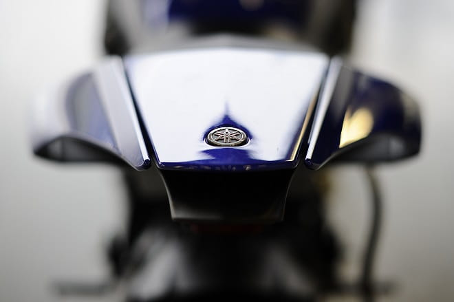 Yamaha's Tuning Fork logo and the R1's svelte rear-end.