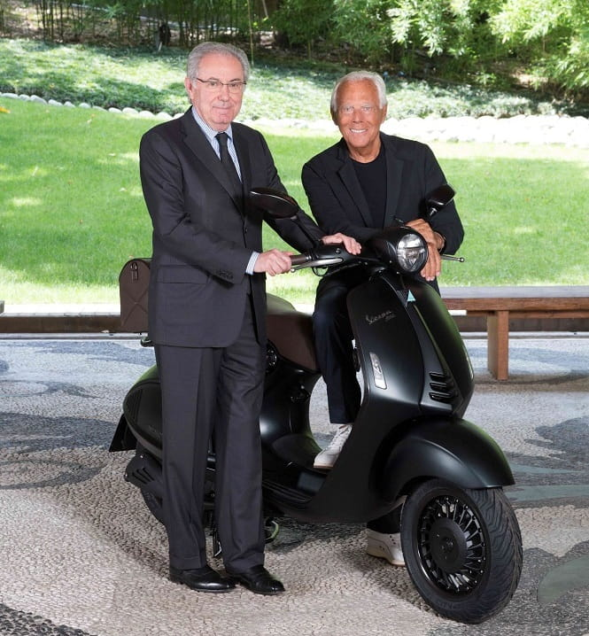Roberto Colaninno (Piaggio Group Chairman and CEO) and Giorgio Armani unveiling the new 946 Emporio Armani