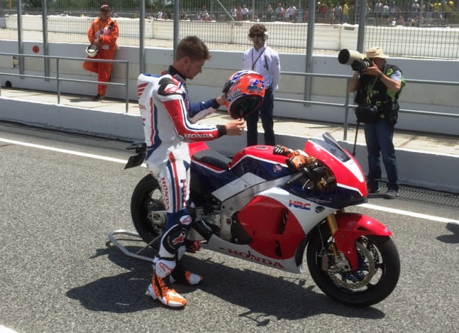Casey Stoner heads out on the Barcelona circuit for a demo run