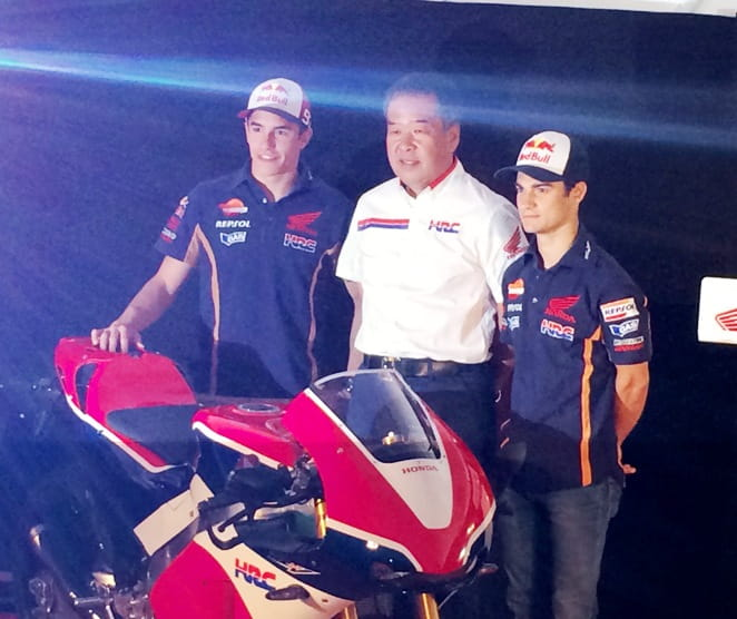 (l-r) Marquez, Nakamoto and Pedrosa