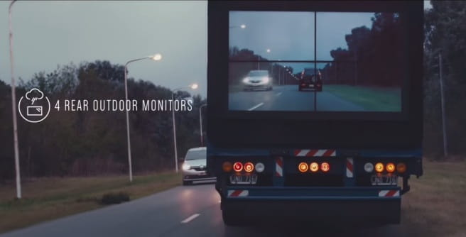 Real-time video feed projecting the road ahead