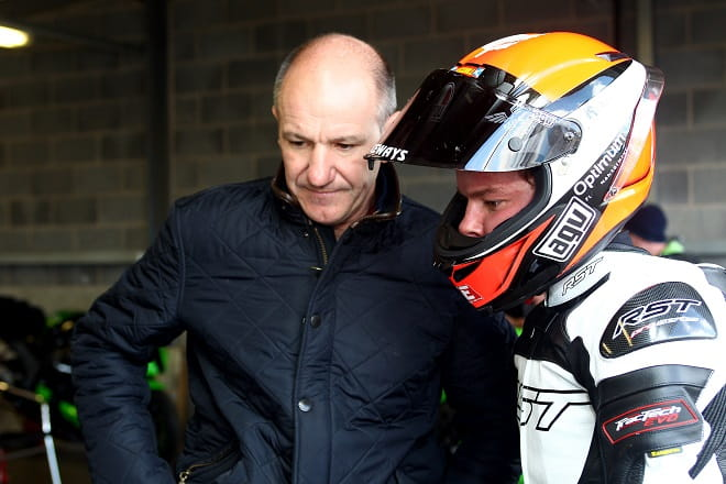Niall continues to be a racing mentor to both his sons. Here he is with Tarran who is racing in Superstock 600 this year.